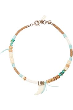 ETRO Suede, shell and bone necklace €270.00 http://www.net-a-porter.com/products/541982
