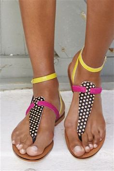 Bright Colour Mix Leather Toe Thong Sandals