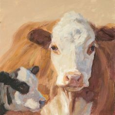 "Ginger and her Calf oil painting  6"" x 6"" www.nancybassartist.com"