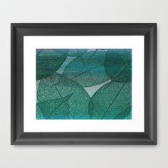 Painterly Green And Blue Leaf Abstract Framed Art Print by Judy Palkimas - $35.00