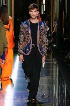 Balmain S/S 17. Ethnic Embellished Jacket and Black Sahara Trousers.