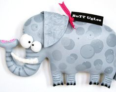 SOLD ... sold ... sold  .....ElePhanT NameD JanesH ... Whimsical WaLL ArT ... Grey PolKa Dots ... Humor