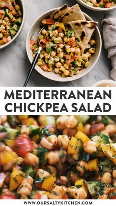 This simple vegan Mediterranean Chickpea Salad is an all-star summer dish! It's a flexible recipe for meal prep, dinner, or a side dish. Healthy Salads, Healthy Dinner Recipes, Whole Food Recipes, Healthy Vegetables, Summer Healthy Meals, Healthy Chickpea Recipes, Vegetarian Protein Meals, Natural Food Recipes, Easy Healthy Weeknight Dinners