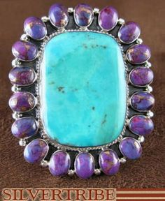 Sterling silver, Turquoise, and Magenta Turquoise Ring