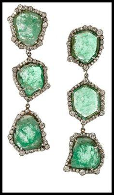 Kimberly McDonald 18-karat blackened white gold, emerald and diamond earrings. Via Diamonds in the Library's jewelry gift guide.