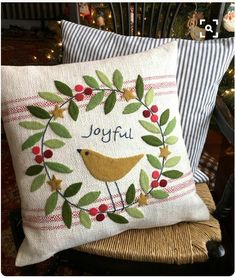 Image only - Joyful Pillow pattern -- easy wool applique. Pattern by Black Mountain Needleworks. NO LINK Christmas Projects, Felt Crafts, Holiday Crafts, Wood Crafts, Christmas Sewing, Christmas Crafts, Christmas Christmas, Country Christmas, Cowboy Christmas