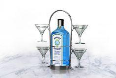 Bombay Sapphire stainless steel martini barware