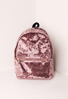 Velvet Backpack Pink - Missguided