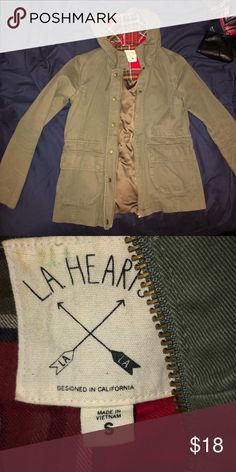 Olive Green Jacket Worn twice Red plaid in the hood Lightly lined Pockets on each side Great for spring Coming from a nonsmoking house💕 La Hearts Jackets & Coats