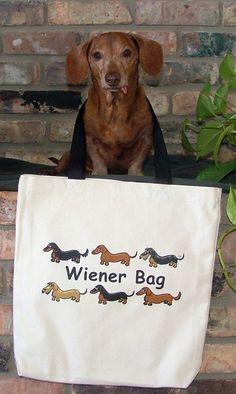 Dachshund Wiener Bag Tote Bag by whatsupdox on Etsy, $18.00