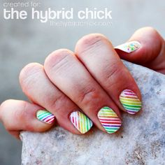 cool nails nail art stripes polka dots rainbow cute adorable love beautiful well done
