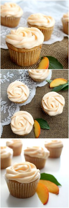 Brown Butter Peach Cupcakes - Perfect for summertime celebrations!   www.chocolatewithgrace   #cupcakes #peach #recipe