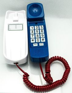 Unique 3 Colors in ONE Trimline Phone - It's White, It's Blue, It's Red - Sturdy Retro Novelty Telephone - An Better-quality Version of the Princess Phones in 1965 - Replica Retro Phones Design with Big Buttons For Seniors Desk or Wall Mountable - Distinctive Landline Corded Telephone for Office or Home