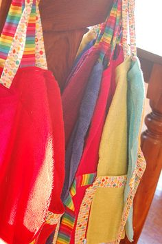 Aprons made with ribbon and hand towels! Another great inspiration for Anna's upcoming cake decorating party.