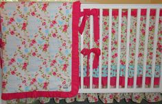 Tweet Pink and Aqua Custom Crib Bedding Set by butterbeansboutique, $389.00