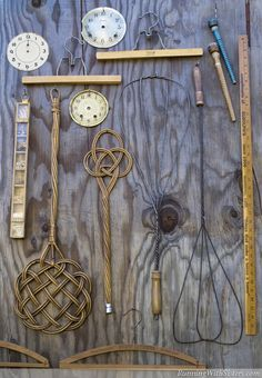 What a fun collection of antique rug beaters, yard sticks, and wooden hangers!
