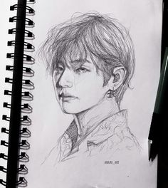 Discover recipes, home ideas, style inspiration and other ideas to try. Kpop Drawings, Pencil Art Drawings, Art Drawings Sketches, Fanart Kpop, Taehyung Fanart, Drawing Challenge, Art Sketchbook, Aesthetic Art, Oeuvre D'art