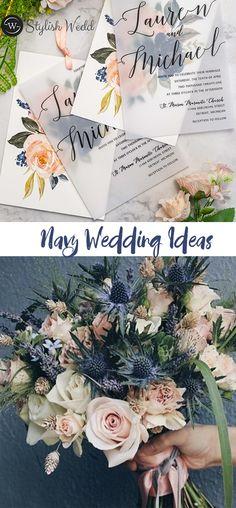Elegant navy and pink wedding ideas