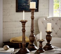 "Oxford Turned Wood Candle Holders #potterybarn Large 8"" dia x 21""ht and Grand 8"" dia x 29"" ht mango wood and antiqued painted finish"