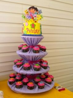 Dora Mini cake & cupcakes, also good way to match your Cupcake tower to any theme