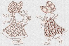 INSTANT DOWNLOAD Duvet's Sunbonnet Sue Redwork por embroiderygirl
