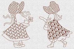 sunbonnet sue embroidery patterns   Duvet's Sunbonnet Sue Redwork Machine Embroidery by embroiderygirl