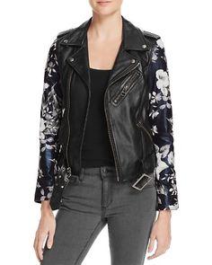 Linea Pelle Floral-Sleeve Leather Moto Jacket - 100% Bloomingdale's Exclusive