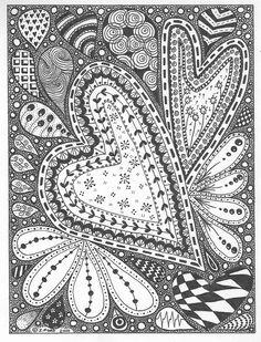 Hearts zentangle