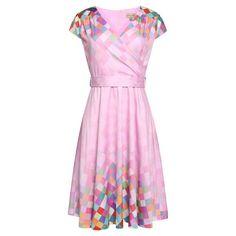 Lindy Bop Swing Dawn jurk met multicoloured blokjes patroon lila paars