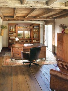 Home Office Space With Rustic Design