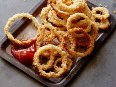 Oven Fried Onion Rings recipe from Jeff Mauro via Food Network