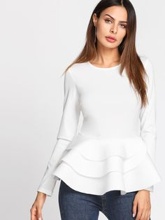 11d23db8109 Shop Tiered Ruffle Hem Peplum Top EmmaCloth-Women Fast Fashion Online