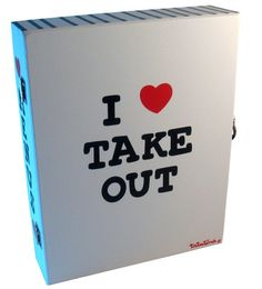 I Heart Take Out White Take Out Menu Box  A place to put take-out menus  all in one organized spot.  $27.95