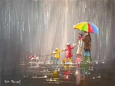Pete Rumney art - the Northern School of British artists Art And Illustration, Leaves Wallpaper Iphone, New York Painting, Rain Painting, Rain Art, Umbrella Art, Special Images, Cute Photography, Cute Drawings