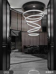 Get Award Winning Design Ideas in Seconds Lobby Interior, Interior Architecture, Interior Design, Modern Lighting, Lighting Design, Floating Lights, Small Modern Home, Lobby Design, Chandelier Lighting