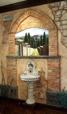 Outdoor scene mural for wine cellars click here to see for Wine painting san antonio