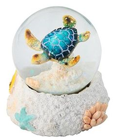 StealStreet  Blue Sea Turtle Water Snow Globe Collectible Figurine