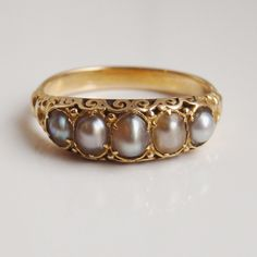 Antique Victorian Gold Freshwater Pearl Ring c1875 in Leather Box; UK Size 'M' | eBay