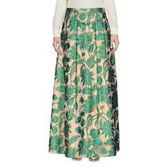 Ki6? Who Are You? Long Skirt (€180) ❤ liked on Polyvore featuring skirts, green, long pleated skirt, maxi skirts, jacquard maxi skirt, zipper skirt and long green skirt