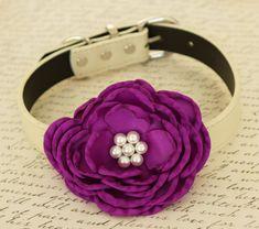 Purple Flower Wedding dog collar, birthday gift, Pet Purple wedding