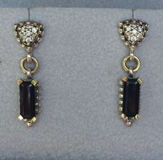 Lagos Caviar Sterling Silver and 18K Gold Black Onyx Diamond Earrings 0 28 Tcw | eBay 289.00