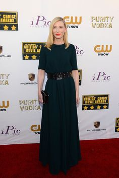 Cate Blanchett looked amazing in a dark green Lanvin dress (from the Pre-Fall 2014 collection).