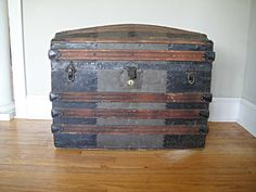 1860's Barrel Top Steamer Trunk  Antique by RustyNailDesign, $188.00