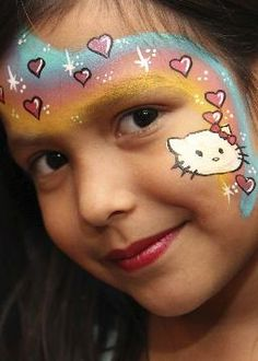 Rainbow Fl Hello Kitty Facepaint Colormefacepainting Face Painting