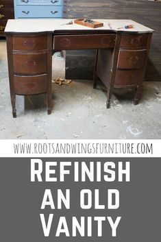 This old vanity becomes the most stunning gray and wood desk! Just a little paint and stain make this piece functional and gorgeous! You've got to see this makeover!