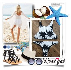 """Rosegal High Neck Coconut Palm Bikini Set!"" by lilyvega-p ❤ liked on Polyvore featuring nikki lissoni, GALA, rag & bone, Mystique, Burberry and rosegal"