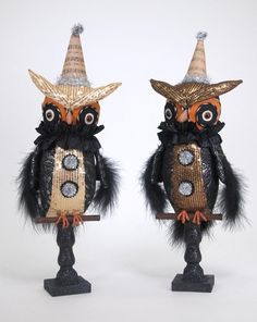 Katherine's Collection 2013 Halloween Fabric Owls on Stand Set of 2 NIB