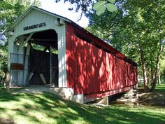 Vermont Bridge - Kokomo, Indiana. The picturesque Vermont covered bridge is located in Highland Park.