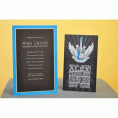 A custom, rockin' Bar Mitzvah invitation--let Noteworthy make an invitation that will suit your personality! How To Make Invitations, Bar Mitzvah Invitations, Bat Mitzvah, Personality, Suit, Baseball, Party, Ideas