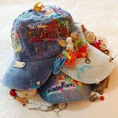 How about some of my messy stitching on caps...I think I better speed up my #slowstitching 😄 #embroidereddenim